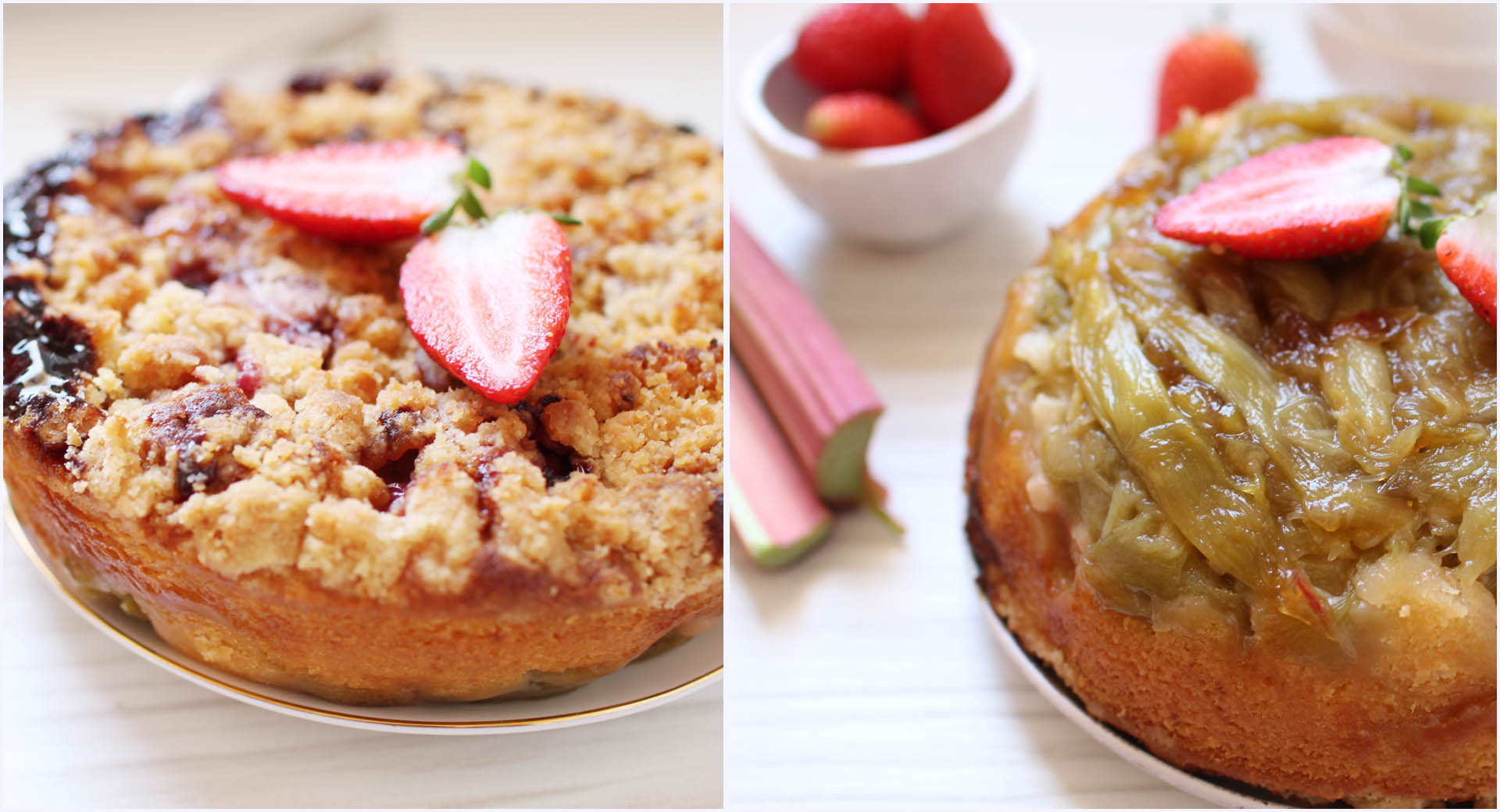 gateau reversible renverse rhunarbe crumble fraises martha stewart