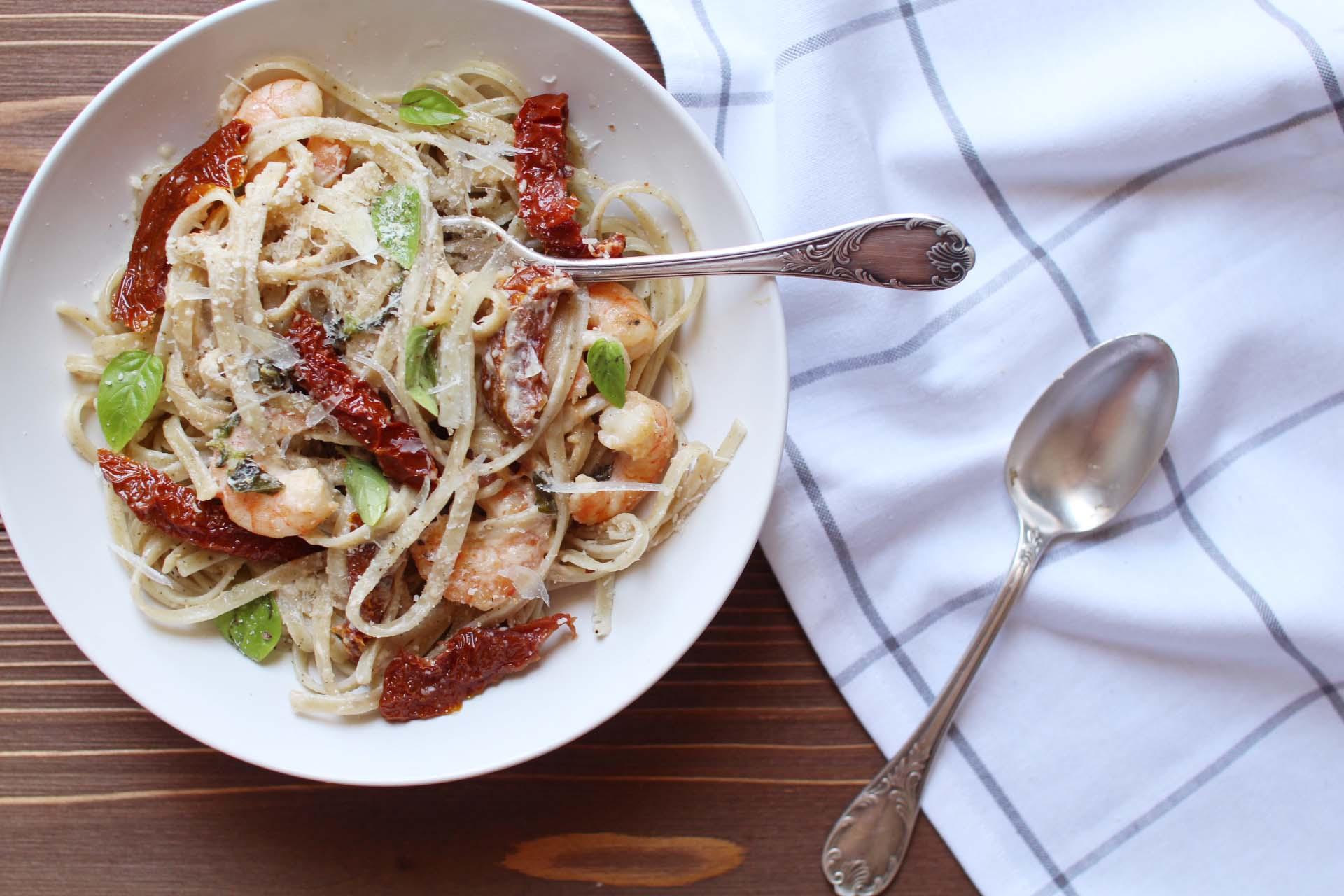 linguine aux crevettes et tomates sechees