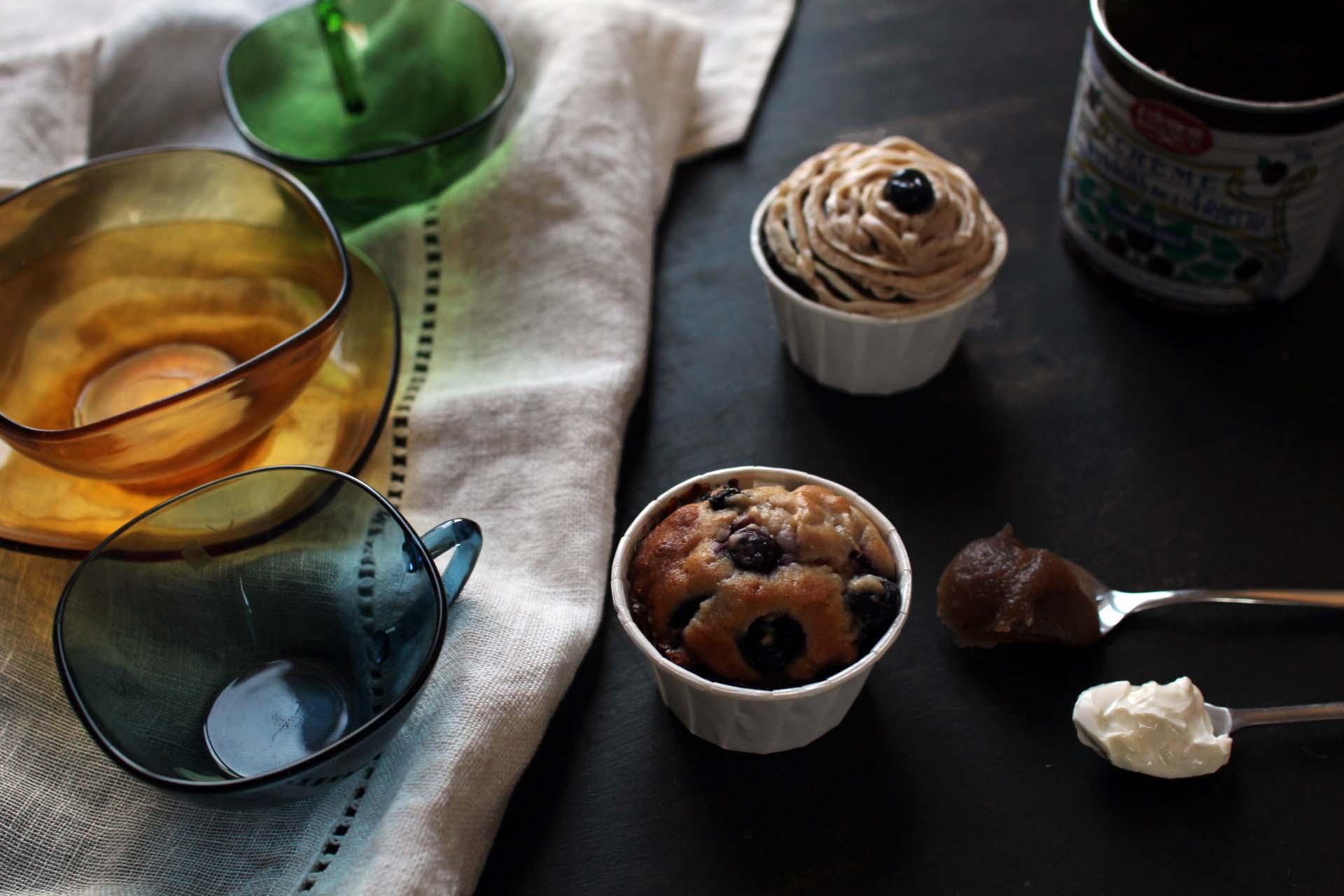 muffins marrons myrtilles