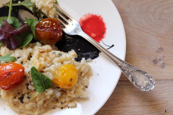 risotto au gorgonzola et aux tomates cerises