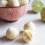 Truffes à la noix de coco, chocolat blanc, citron vert et gingembre