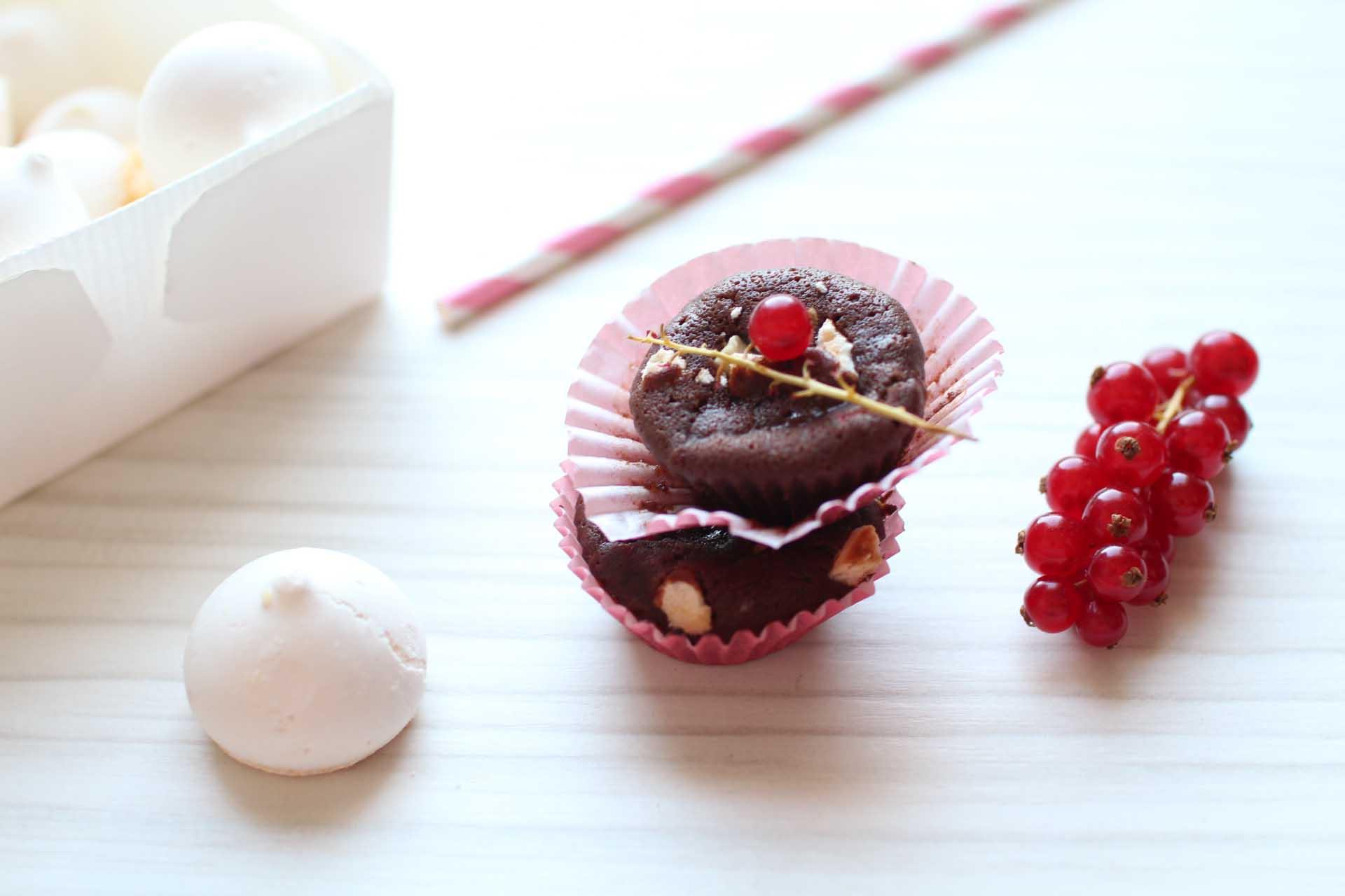 moelleux chocolat noir blanc groseilles
