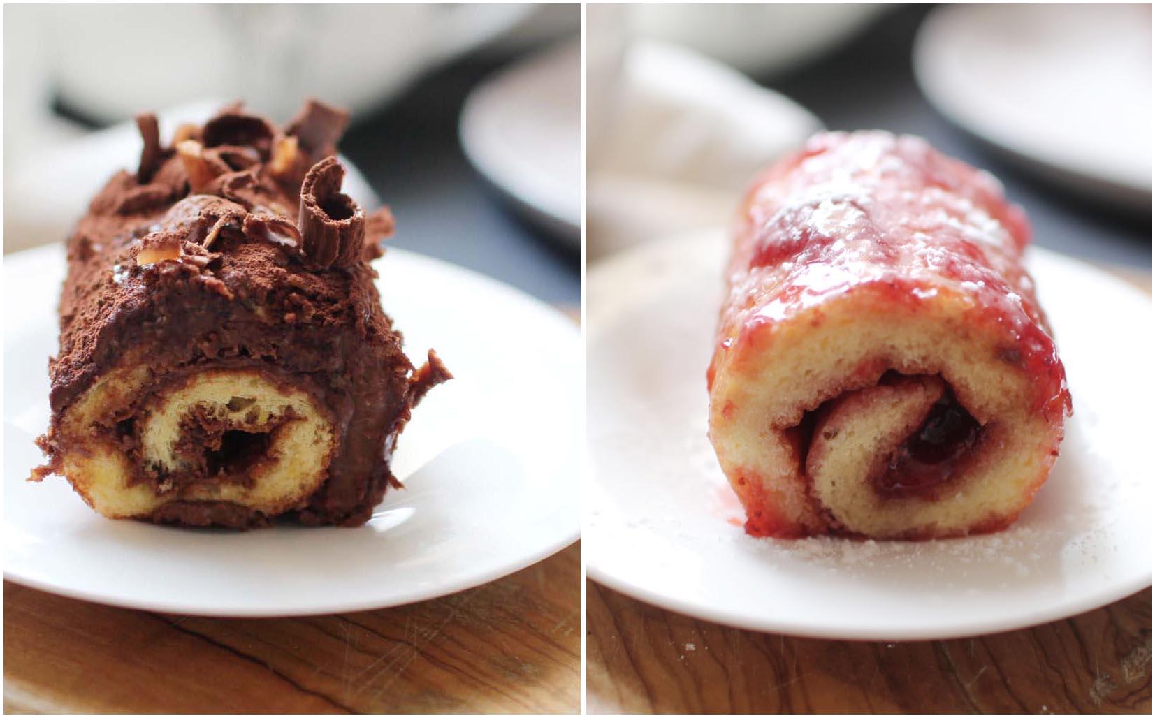 roule confiture fraise nutella