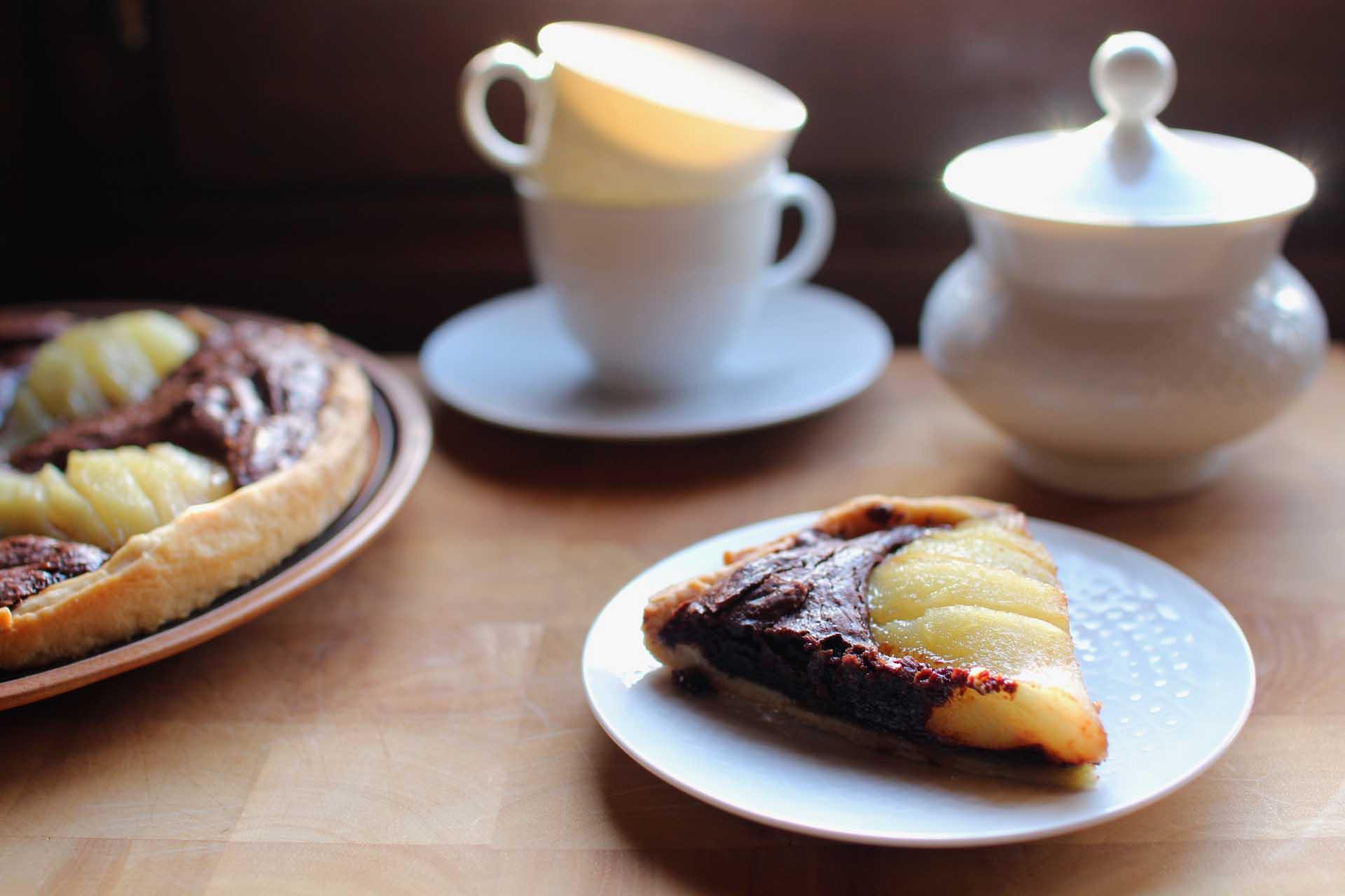 tarte poires chocolat noisettes