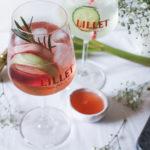 Cocktail Lillet Tonic Rosé à la rhubarbe